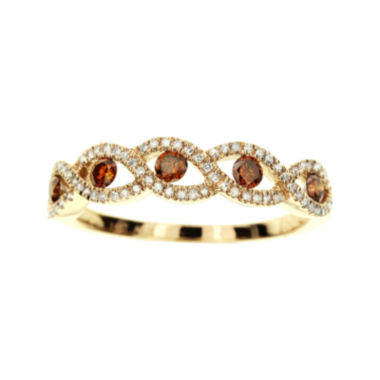 jcpenney.com | LIMITED QUANTITIES 3/8 CT. T.W. White and Color-Enhanced Cognac Diamond Crossover Ring