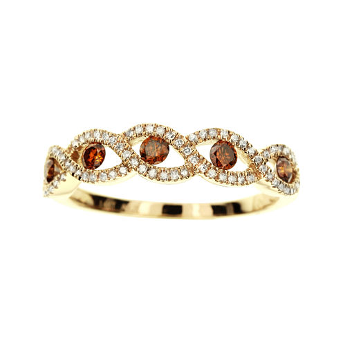 LIMITED QUANTITIES 3/8 CT. T.W. White and Color-Enhanced Cognac Diamond Crossover Ring
