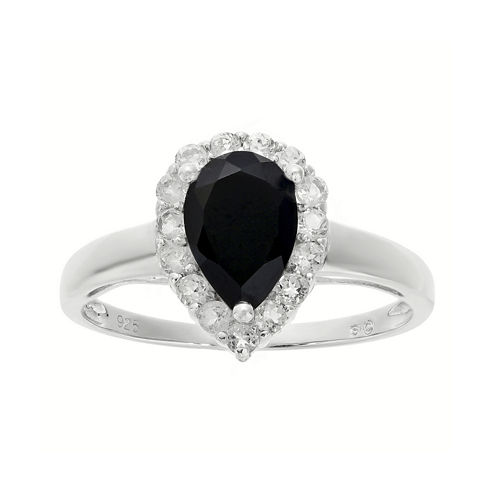 Pear-Shaped Genuine Black Onyx and White Topaz Ring