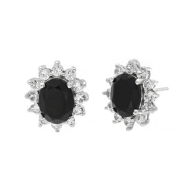jcpenney.com | Oval Genuine Black Onyx and Lab-Created White Sapphire Earrings
