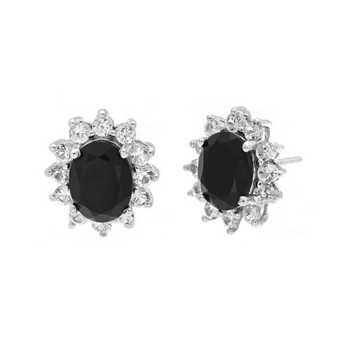 Oval Genuine Black Onyx and Lab-Created White Sapphire Earrings