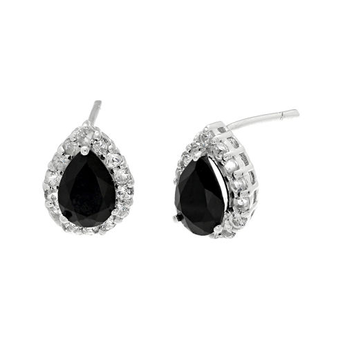 Pear-Shaped Genuine Black Onyx and White Topaz Pendant Earrings