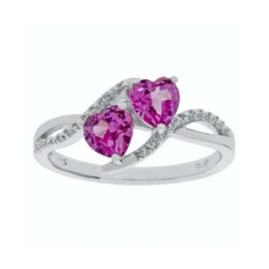 jcpenney.com | Lab-Created Pink Sapphire and Diamond-Accent Sterling Silver Ring
