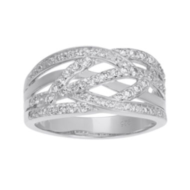 jcpenney.com | Lab-Created White Sapphire Sterling Silver Crossover Band Ring