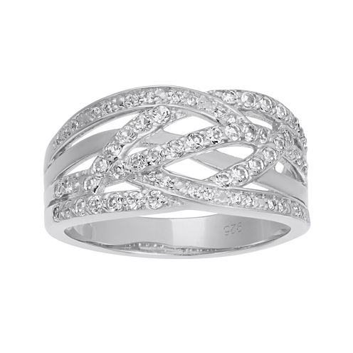 Lab-Created White Sapphire Sterling Silver Crossover Band Ring