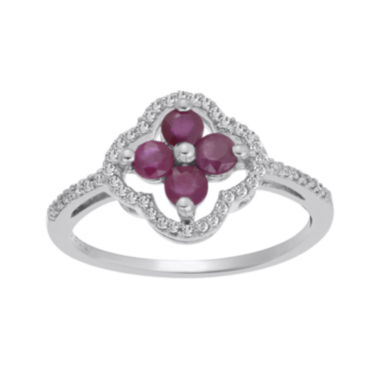 jcpenney.com | Lead Glass-Filled Ruby and 1/8 CT. T.W. Diamond 10K White Gold Flower Ring