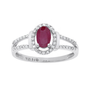 jcpenney.com | Lead Glass-Filled Ruby and 1/8 CT. T.W. Diamond 10K White Gold Oval Ring