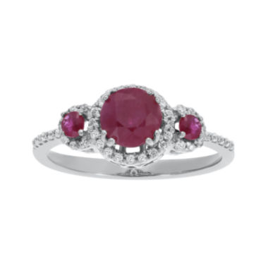 jcpenney.com | Lead Glass-Filled Ruby and 1/5 CT. T.W. Diamond 10K White Gold 3-Stone Ring