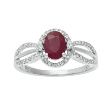 jcpenney.com | Lead Glass-Filled Ruby and 1/5 CT. T.W. Diamond 10K White Gold Oval Ring