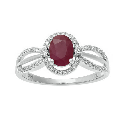 Lead Glass-Filled Ruby and 1/5 CT. T.W. Diamond 10K White Gold Oval Ring