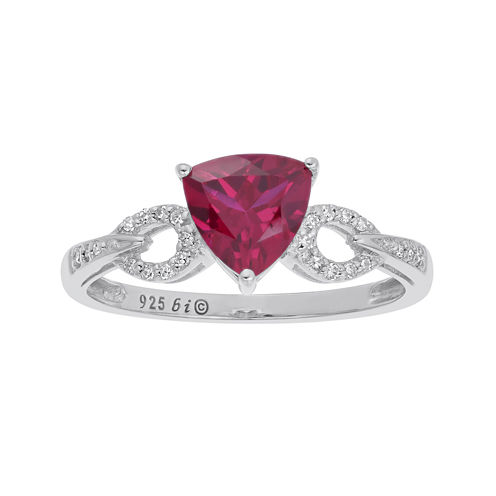 Lab-Created Ruby and Diamond-Accent Sterling Silver Ring