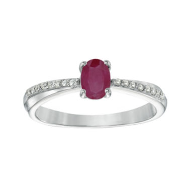 jcpenney.com | Lead Glass-Filled Ruby and Diamond-Accent Sterling Silver Oval Ring