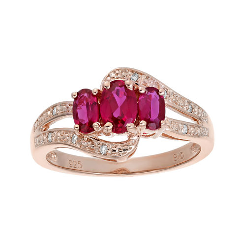 Lab-Created Ruby and Genuine White Topaz Rose-Tone Sterling Silver 3-Stone Ring