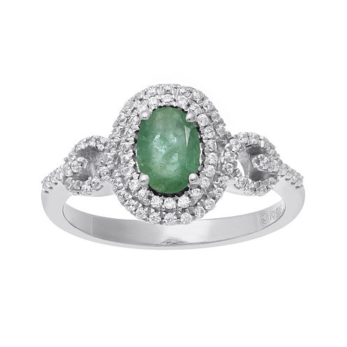 Genuine Emerald and 1/3 CT. T.W. Diamond 10K White Gold Oval Halo Ring