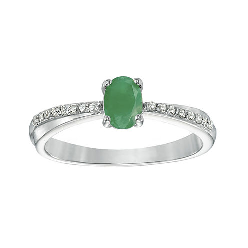 Genuine Emerald and Diamond-Accent Sterling Silver Oval Ring