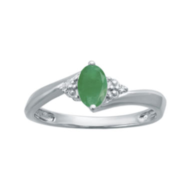 jcpenney.com | Genuine Emerald and Diamond-Accent Sterling Silver Oval Ring