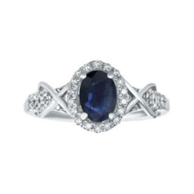 jcpenney.com | 1/4 CT. T.W. Diamond and Genuine Sapphire 10K White Gold Ring