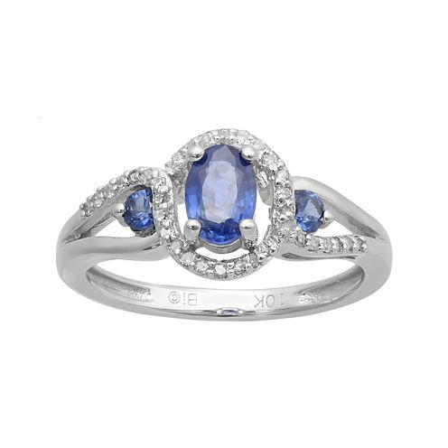 Genuine Sapphire and 1/10 CT. T.W. Diamond 10K White Gold 3-Stone Ring