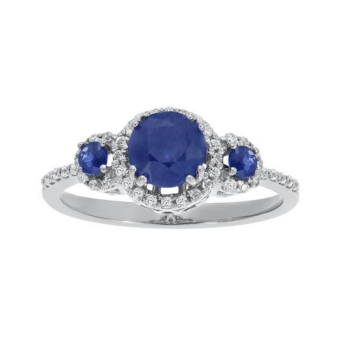 Genuine Sapphire and 1/5 CT. T.W. Diamond 10K White Gold 3-Stone Ring