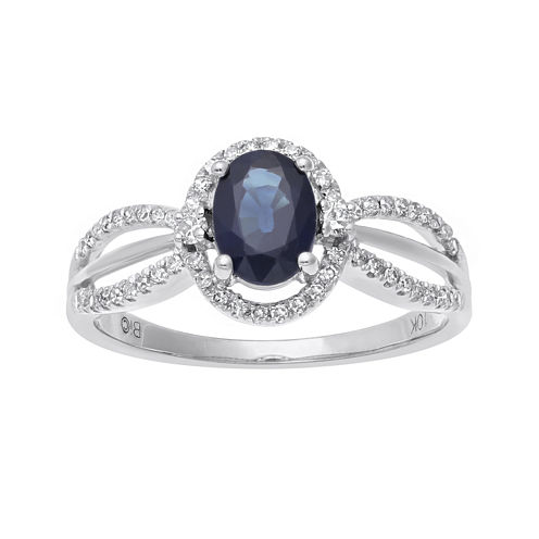Genuine Sapphire and 1/5 CT. T.W. Diamond 10K White Gold Oval Ring