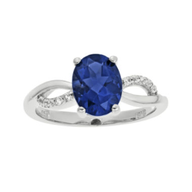 jcpenney.com | Lab-Created Sapphire and 1/10 CT. T.W. Diamond Sterling Silver Ring