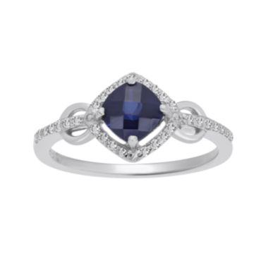 jcpenney.com | Lab-Created Sapphire and 1/7 CT. T.W. Diamond Sterling Silver Ring