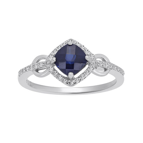 Lab-Created Sapphire and 1/7 CT. T.W. Diamond Sterling Silver Ring