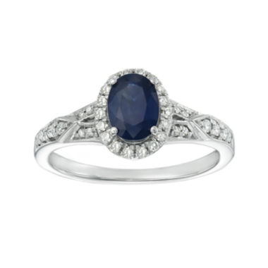 jcpenney.com | Genuine Blue Sapphire and 1/5 CT. T.W. Diamond Sterling Silver Oval Ring