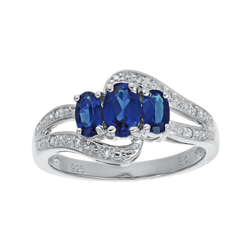 Lab-Created Sapphire and Genuine White Topaz Sterling Silver 3-Stone Ring