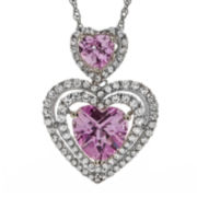 Lab-Created Pink & White Sapphire Sterling Silver Double-Heart Pendant Necklace