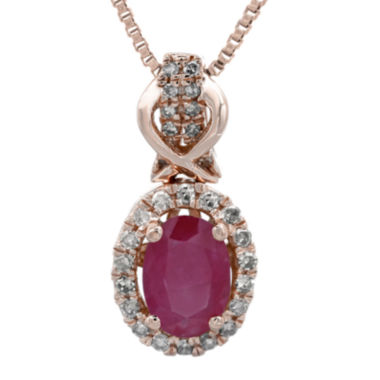 jcpenney.com | 1/7 CT. T.W. Diamond and Lead Glass-Filled Ruby 10K Rose Gold Drop Pendant Necklace
