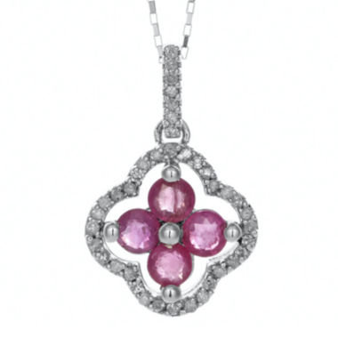 jcpenney.com | 1/8 CT. T.W. Diamond and Lead Glass-Filled Ruby 10K White Gold Flower Pendant Necklace