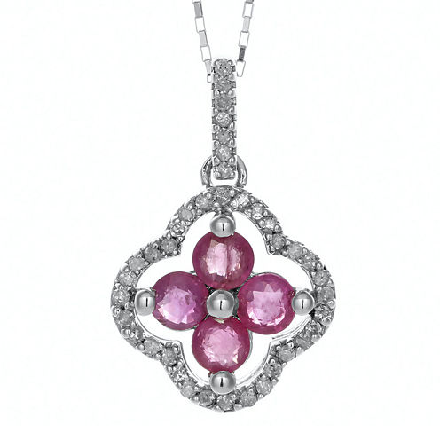 1/8 CT. T.W. Diamond and Lead Glass-Filled Ruby 10K White Gold Flower Pendant Necklace