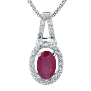 jcpenney.com | 1/10 CT. T.W. Diamond and Lead Glass-Filled Ruby 10K White Gold Oval Drop Pendant Necklace