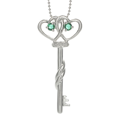 Lab-Created Emerald and Diamond-Accent Double-Heart and Key Pendant Necklace