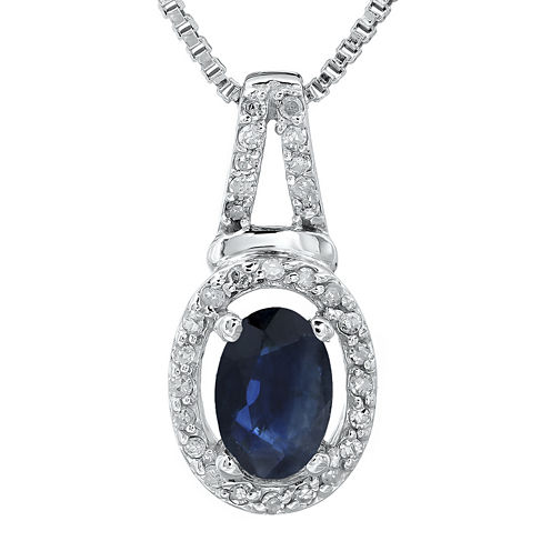 1/10 CT. T.W. Diamond and Genuine Sapphire 10K White Gold Oval Drop Pendant Necklace