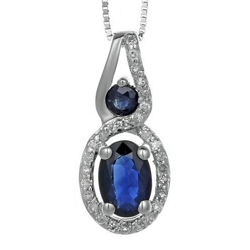 Genuine Sapphire and Diamond-Accent 10K White Gold Double-Drop Pendant Necklace