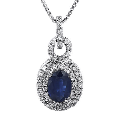 1/3 CT. T.W. Diamond and Genuine Sapphire Pendant Necklace