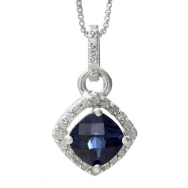 jcpenney.com | 1/8 CT. T.W. Diamond and Lab-Created Sapphire Sterling Silver Drop Pendant Necklace