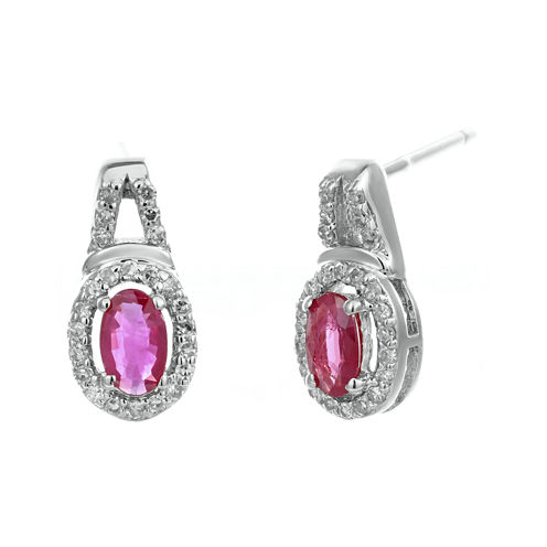 1/7 CT. T.W. Diamond and Lead Glass-Filled Ruby 10K White Gold Oval Drop Earrings