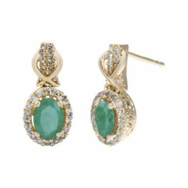 jcpenney.com | 1/4 CT. T.W. Diamond and Genuine Emerald 10K Yellow Gold Drop Earrings
