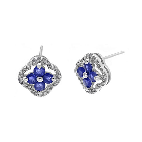 1/7 CT. T.W. Diamond and Genuine Sapphire 10K White Gold Flower Earrings