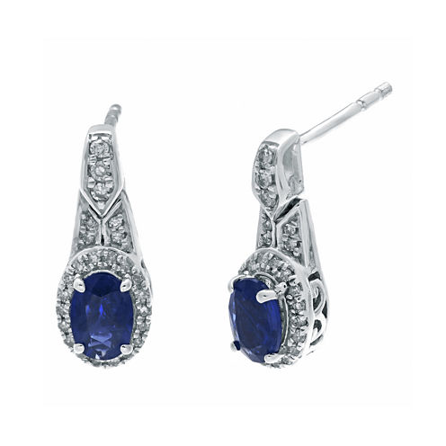 1/4 CT. T.W. Diamond and Genuine Blue Sapphire Oval Drop Earrings
