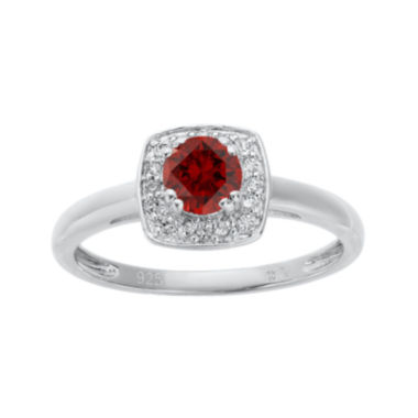 jcpenney.com | Genuine Garnet and White Topaz Sterling Silver Ring