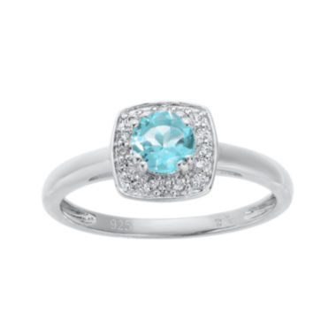 jcpenney.com | Lab-Created Aquamarine and Genuine White Topaz Sterling Silver Ring