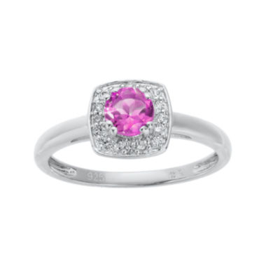 jcpenney.com | Lab-Created Pink Sapphire and Genuine White Topaz Sterling Silver Ring