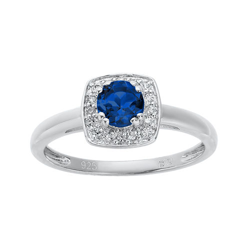 Lab-Created Sapphire and Genuine White Topaz Sterling Silver Ring
