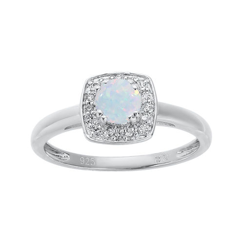 Lab-Created Opal and Genuine White Topaz Sterling Silver Ring