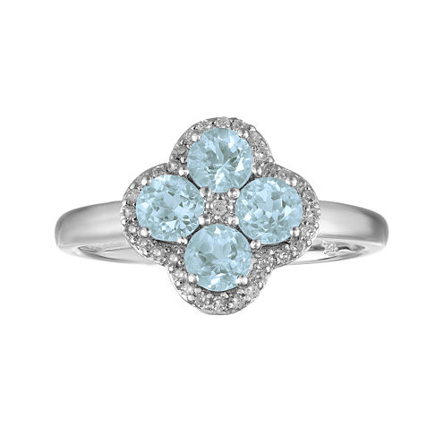Lab-Created Aquamarine and White Topaz Flower Sterling Silver Ring