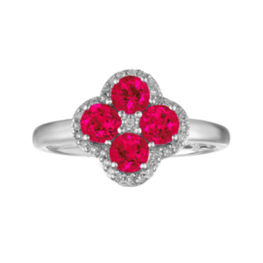jcpenney.com | Lab-Created Ruby and White Topaz Flower Sterling Silver Ring